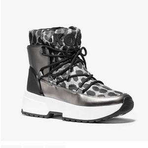 MICHAEL KORS Cassia Leather Cheeta-Print Bootie